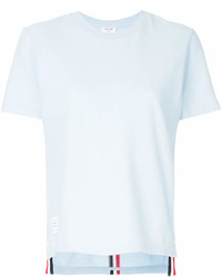 Thom Browne Relaxed Fit Short Sleeve Tee With Red White And Blue Stripe In Classic Pique