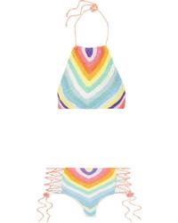 Mara Hoffman Crocheted Cotton Halterneck Bikini Light Blue