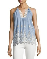 Joie Josepe Crochet Tank Top Blue