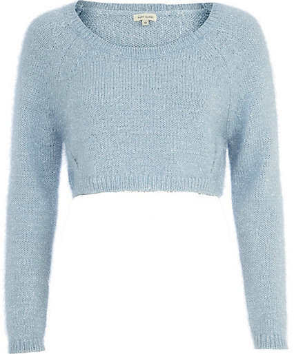River Island Blue Cropped Sweater