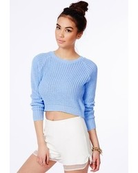Light Blue Cropped Sweaters for Women | Women's Fashion