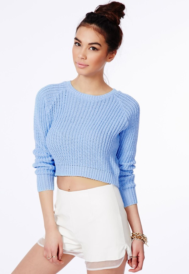 Missguided Berte Cropped Jumper In Blue | Where to buy & how to wear