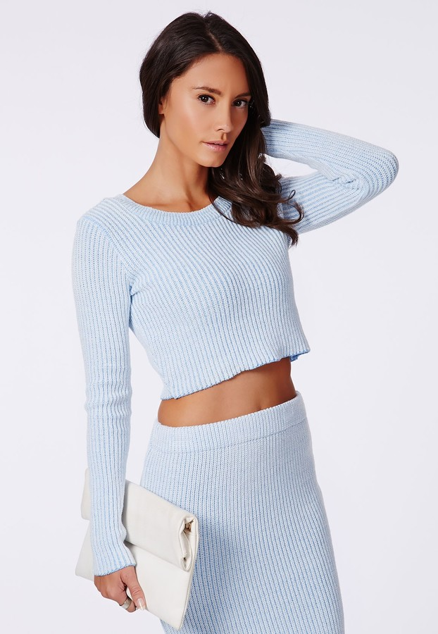 Missguided Casey Knit Scoop Neck Crop Top Pale Blue Where To Buy
