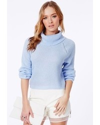 Womens Light Blue Cropped Sweaters By Missguided Womens Fashion