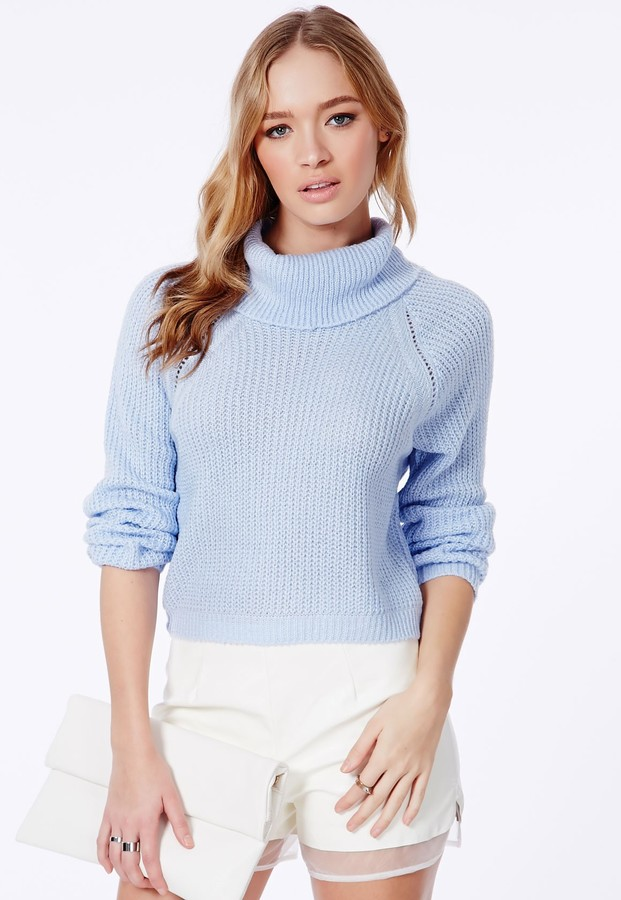 Missguided Charlene Roll Neck Cropped Jumper In Baby Blue ...