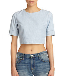 3x1 Striped Cotton Cropped Top
