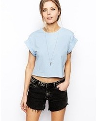 Asos Cropped Boyfriend T Shirt With Roll Sleeve Blue