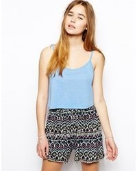 Asos Cropped Cami Top With Scoop Neck Blue