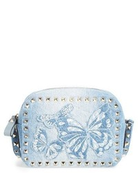 Rockstud camera denim crossbody bag blue medium 1248559