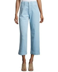 Mih caron high rise cropped wide leg pants blue medium 3719477