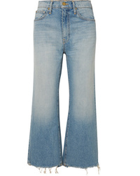 The Great The Rider Cropped Frayed High Rise Wide Leg Jeans