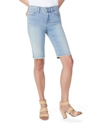NYDJ Briella Frayed Hem Denim Bermuda Shorts