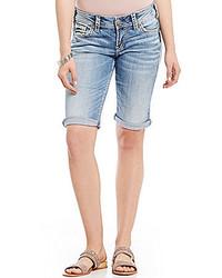 Silver Jeans Co Suki Rolled Cuff Woven Stretch Denim Bermuda Shorts