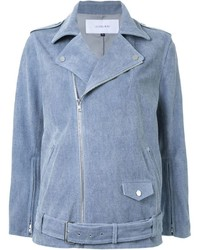 Le Ciel Bleu Denim Effect Biker Jacket