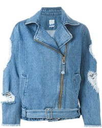 SteveJ & YoniP Steve J Yoni P Distressed Denim Biker Jacket