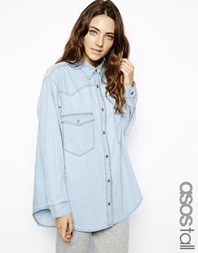 Light blue denim button down blouse asos tall tall for Womens tall button down shirts