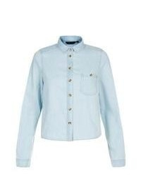 New Look Light Blue Boxy Denim Shirt