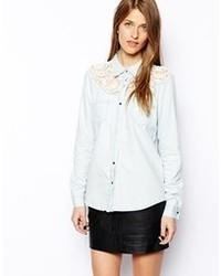 Vila denim shirt with crochet top light blue denim medium 71556