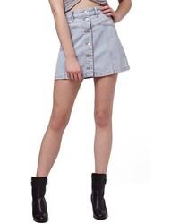 Light Blue Denim Button Skirt