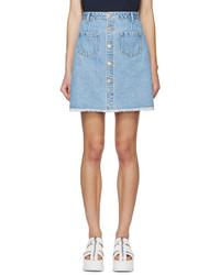 Sjyp Blue Buttoned Denim Miniskirt