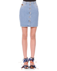 MSGM Button Front Denim Miniskirt