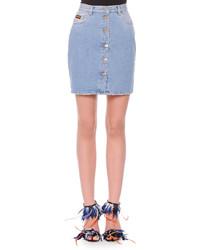 Button front denim miniskirt medium 437944