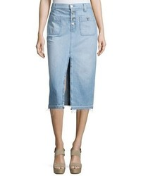 7 For All Mankind Exposed Button Denim Skirt Blue