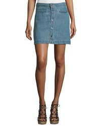 Joie Jemme Sea Wash Button Front Denim Skirt