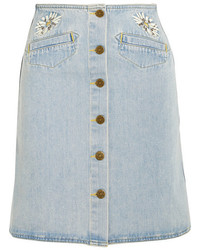 MiH Jeans Mih Jeans Embroidered Denim Mini Skirt Mid Denim