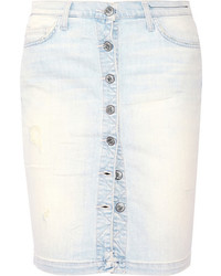 Current/Elliott The Dotty Distressed Stretch Denim Skirt Light Denim
