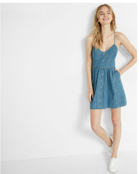 Express Button Front Denim Cami Dress
