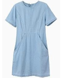 Choies Denim Shift Dress With Pocket
