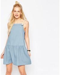 Asos Denim Drop Waist Cami Dress With Rope Straps In Light Blue