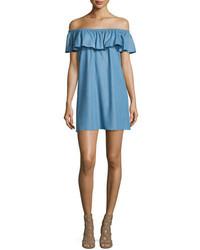 Rebecca Minkoff Dev Off The Shoulder Ruffle Dress Light Denim Blue