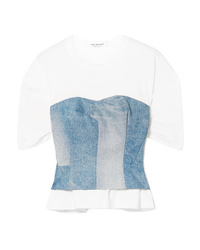 Junya Watanabe Layered Cotton Jersey And Denim Top