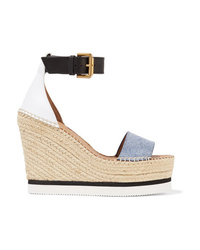 See by Chloe Denim And Leather Espadrille Wedge Sandals