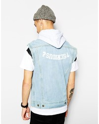 Reclaimed Vintage X Denim Vest With Hood And Back Print