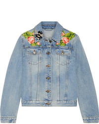 Gucci Appliqud Denim Jacket Light Denim