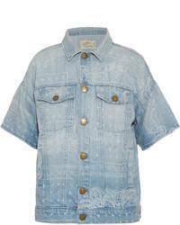 Current/Elliott Bandana Print Short Sleeved Denim Jacket