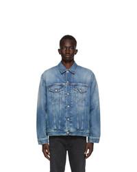 Acne Studios Blue Denim Oversized Distressed Jacket