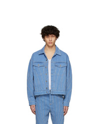 Mugler Blue Denim Oversized Jacket