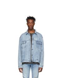Ksubi Blue Denim Oversized Oh G Acid Trip Trash Jacket