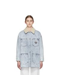 MM6 MAISON MARGIELA Blue Denim Sherpa Coat