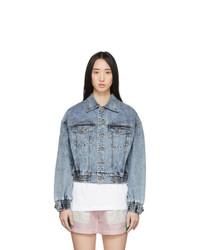Sjyp Blue Denim Short Color Stitch Jacket