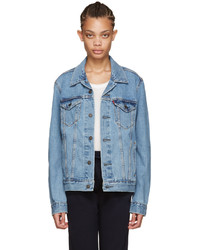 Blue denim trucker jacket medium 746864