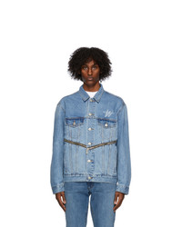 We11done Blue Denim Wd Logo Zipper Jacket