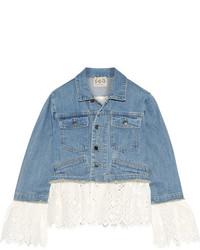 Sea Broderie Anglaise Cotton Paneled Denim Jacket Mid Denim