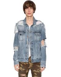 Balmain Cotton Denim Destroyed Jacket