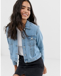 Miss Selfridge Crop Denim Jacket In Mid Wash