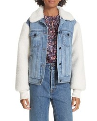 La Vie Rebecca Taylor Denim Faux Fur Jacket